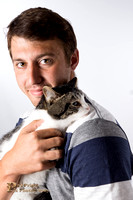 Cat Photo - Man and Cat - 00112- WM