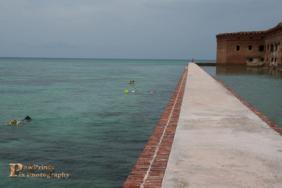 Snorkeling along the moat wall